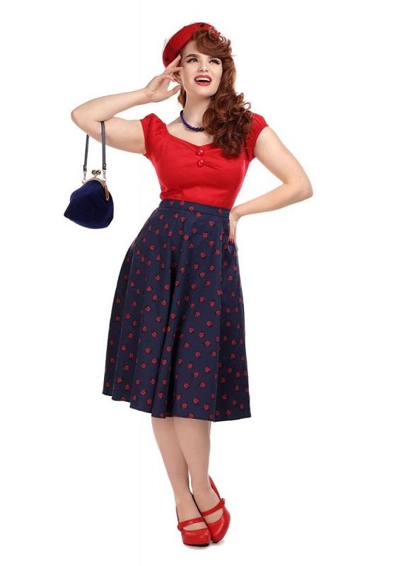 falda-pinup-azul-estampado-mariquitas