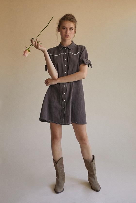 vestido-corto-botones-mangas-cortas-lazo