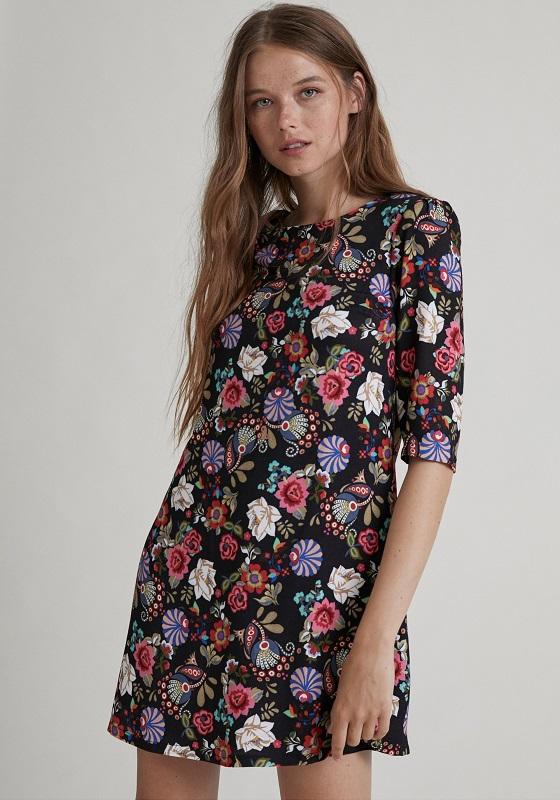 vestido-corto-negro-estampado-flores-retro
