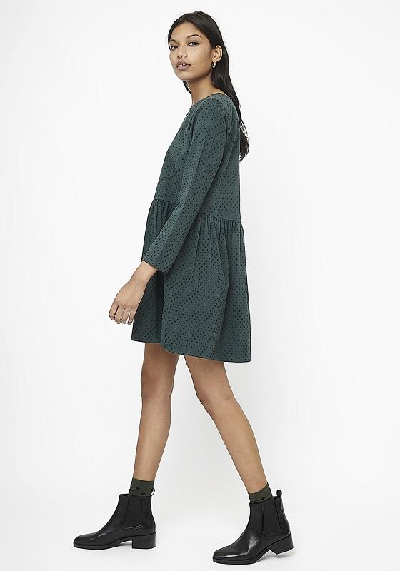 vestido-corto-verde-lunares-negros