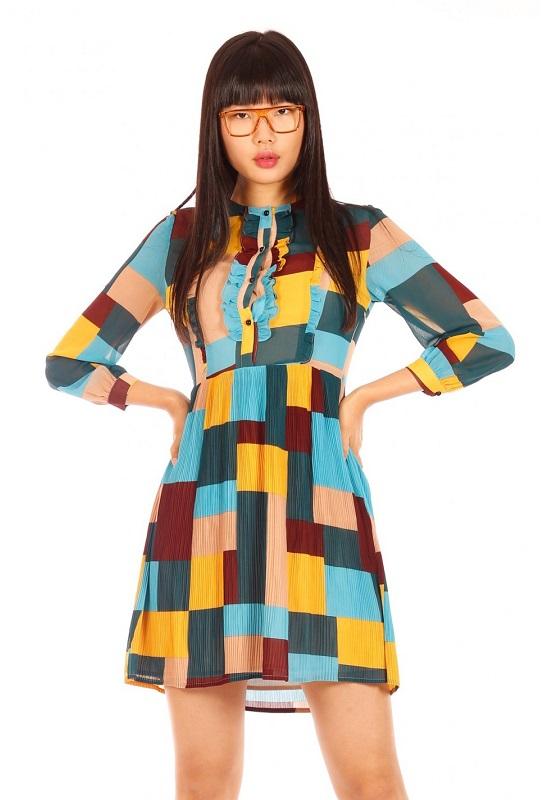 vestido-cuadros-colores-mangas-cortas