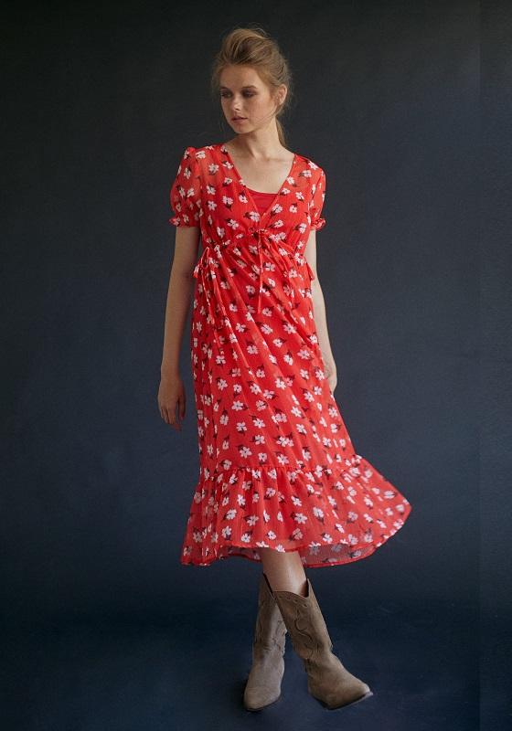 vestido-midi-rojo-estampado-flores-gasa