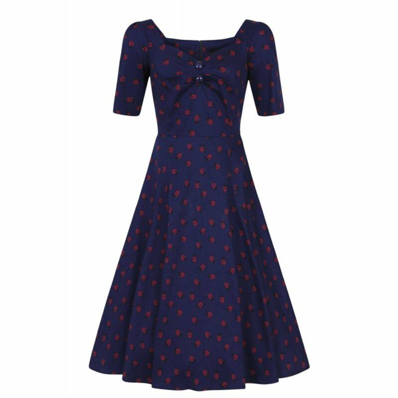 vestido-pin-up-azul-mangas-estampado-mariquitas