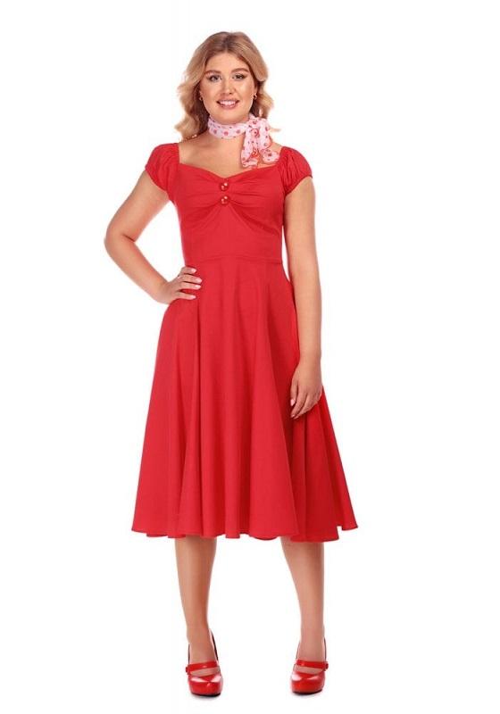 vestido-pin-up-rojo-mangas-cortas