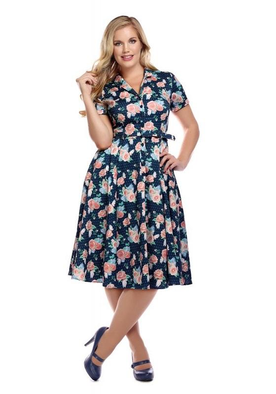 vestido-vintage-azul-estampado-rosas-botones