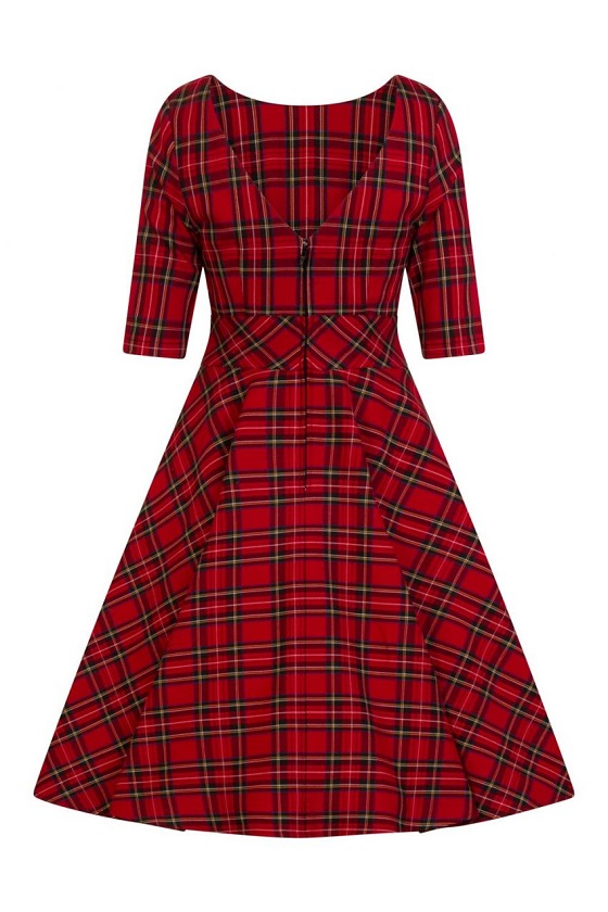 vestido-rojo-cuadros-vintage