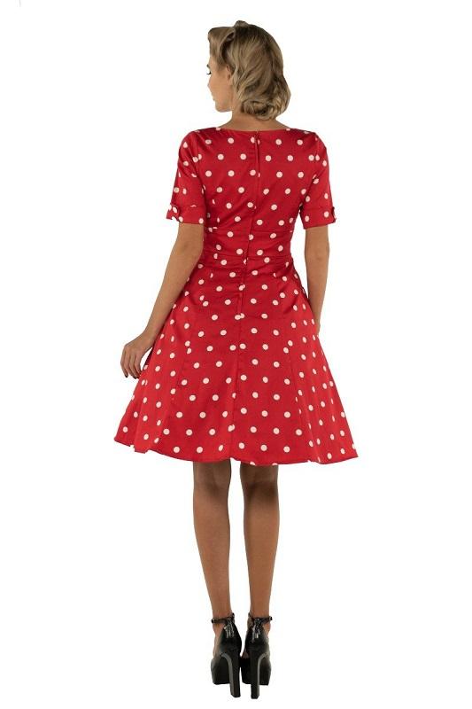 vestido-rojo-lunares-blancos-manga-corta