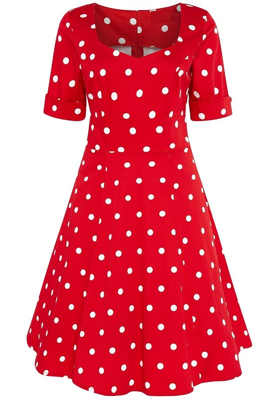 vestido-rojo-lunares-blancos-pinup