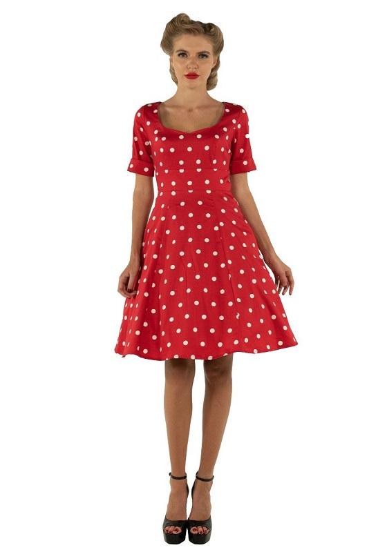 vestido-rojo-topos-blancos-retro