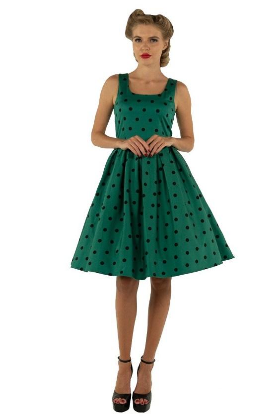 vestido-verde-falda-vuelo-vintage