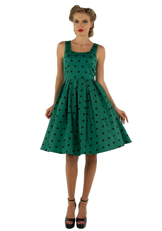 vestido-verde-topos-negros-pin-up