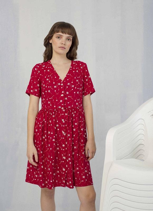 vestido-rojo-mangas-cortas-botones