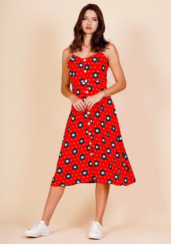 vestido-midi-rojo-estampado-vinilo