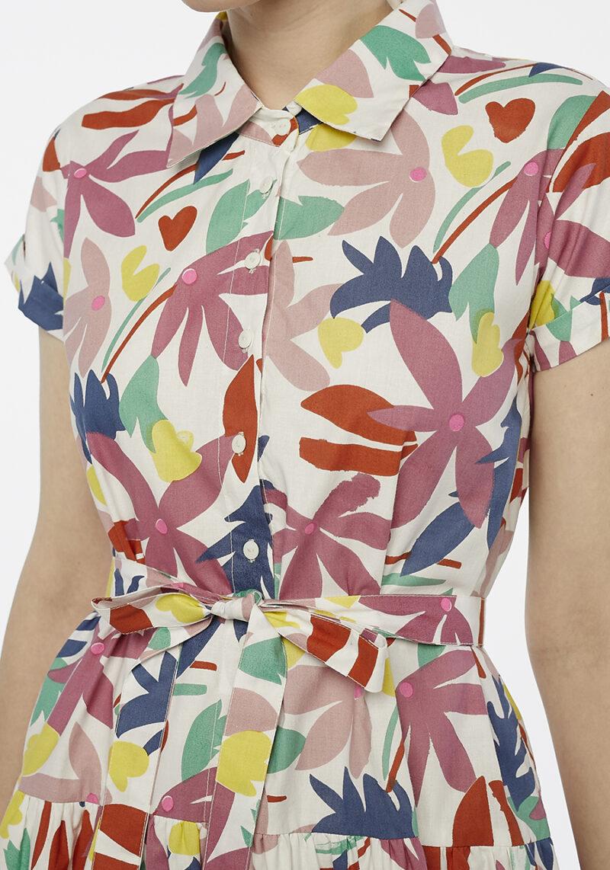 vestido-mangas-cortas-botones-cuello-camisero