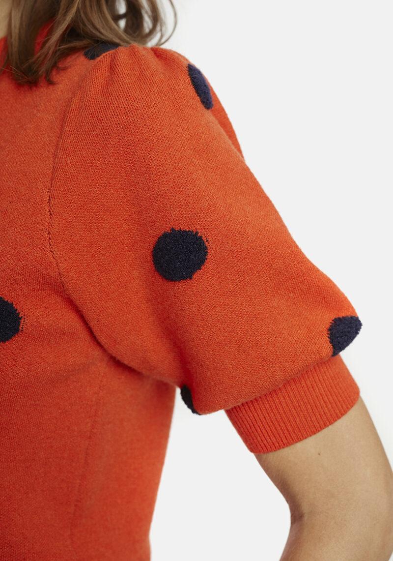 jersey-naranja-manga-corta-topos-negros