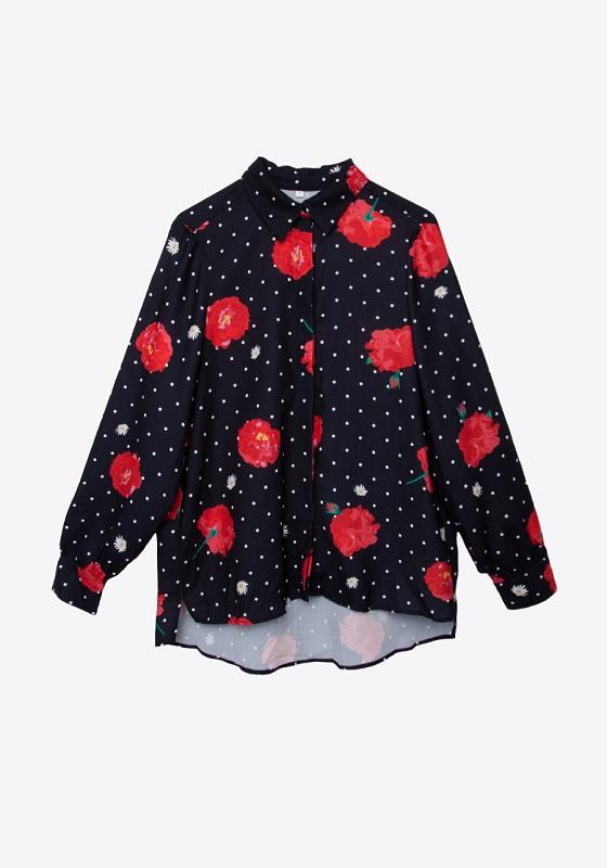 camisa-negra-lunares-rosas