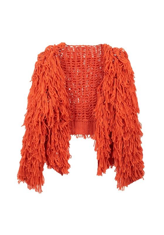 cardigan-flecos-lana-rojo