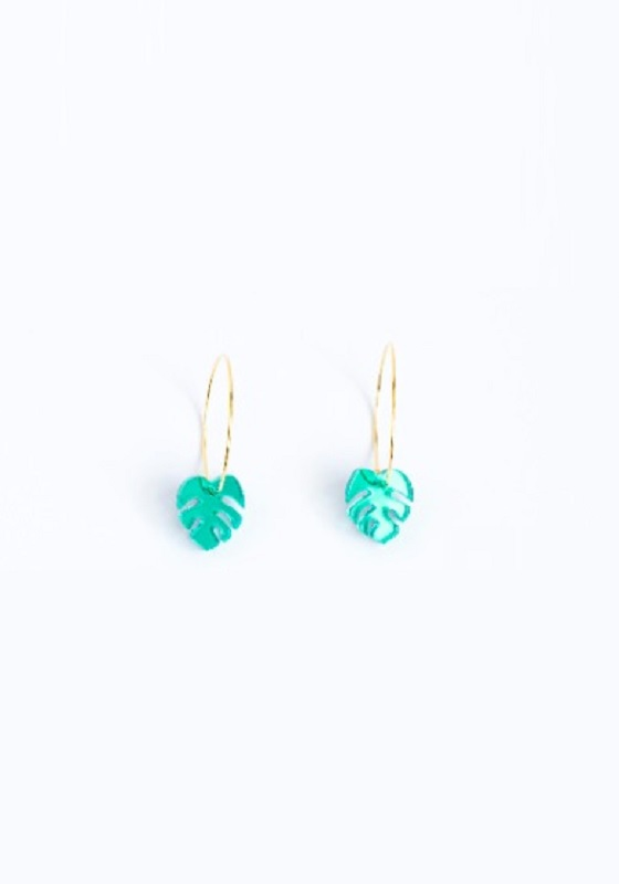 pendientes-mini-hoja-monstera-verde
