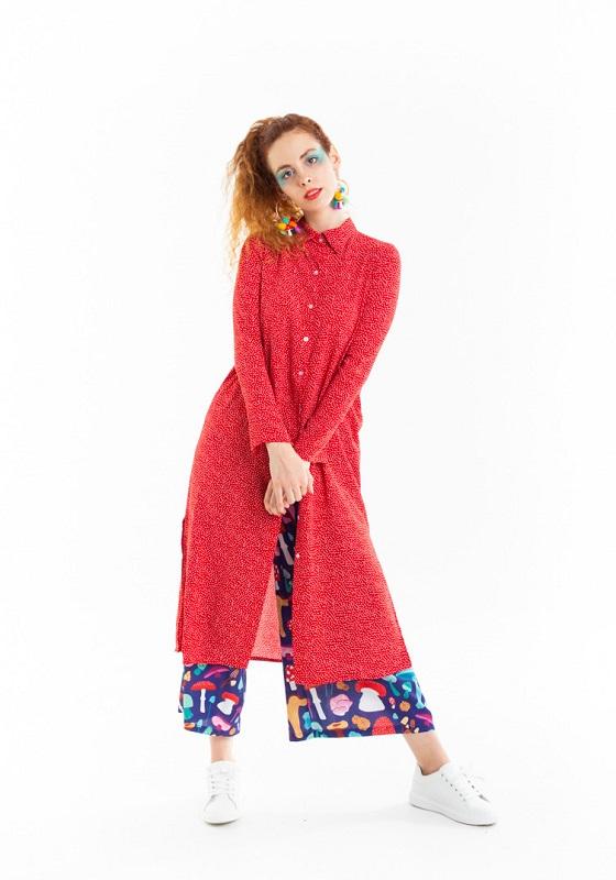 vestido-camisero-largo-rojo-topos-blancos