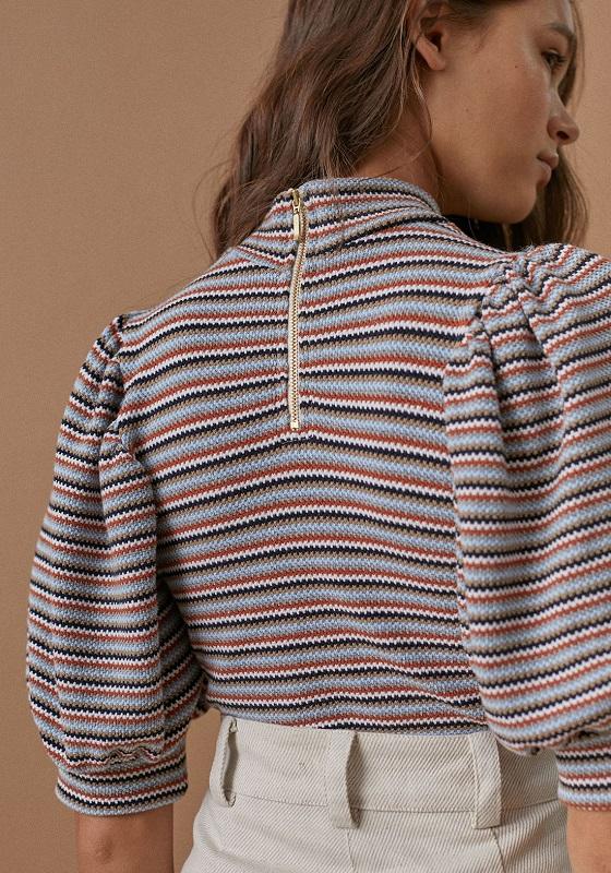 blusa-rayas-mangas-cortas-abullonadas