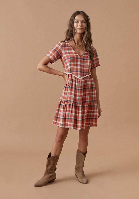 vestido-corto-naranja-caldera-cuadros