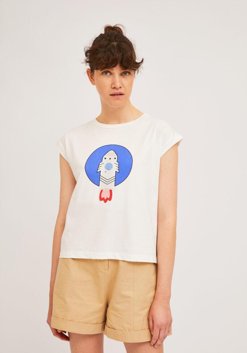 camiseta-blanca-estampado-cohete