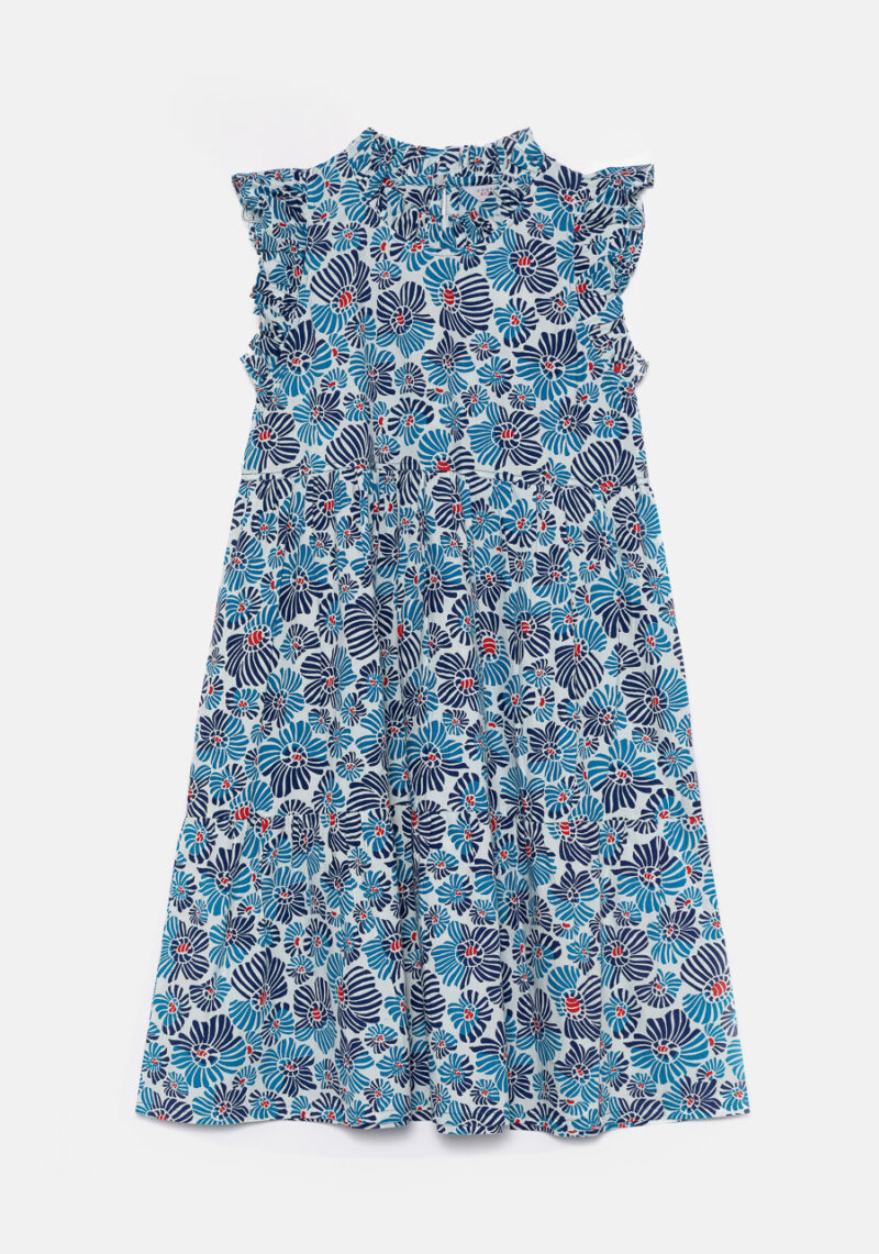 vestido-corto-mangas-volantes-estampado-flores-azules