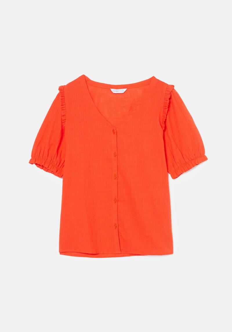 camisa-escote-pico-roja
