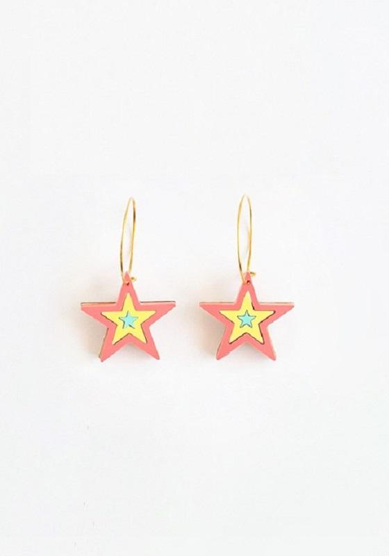 pendientes-Estrella-del-rock-coral-metacrilato