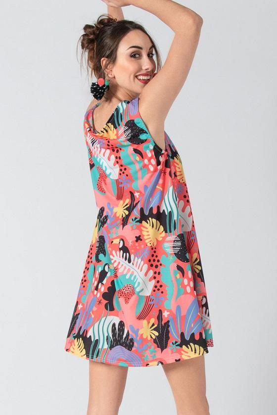 vestido-corto-salmon-tirante-ancho-flamenca