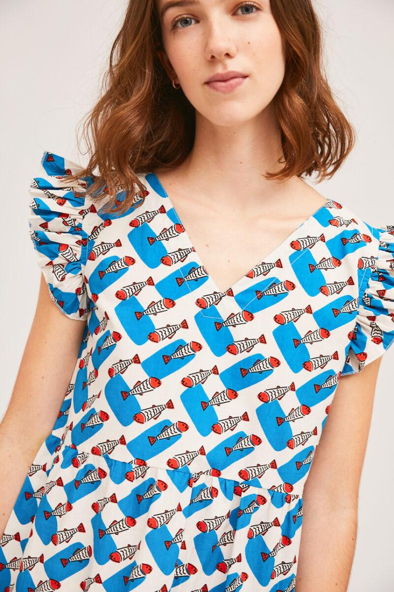 vestido-azul-estampado-sardinas