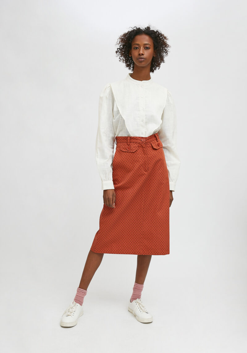falda-midi-marron-lunares-negros