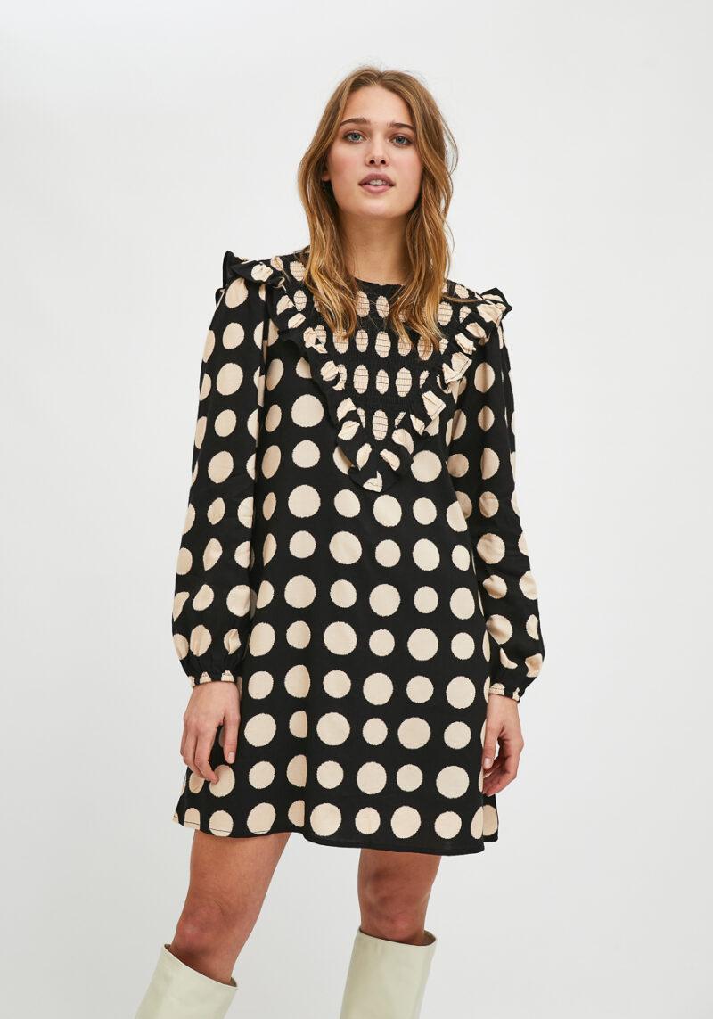 vestido-corto-negro-lunares-crudo