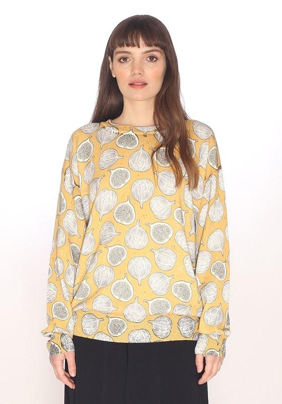 Jersey de punto fino en color amarillo con estampado de hijos en gris y blanco.