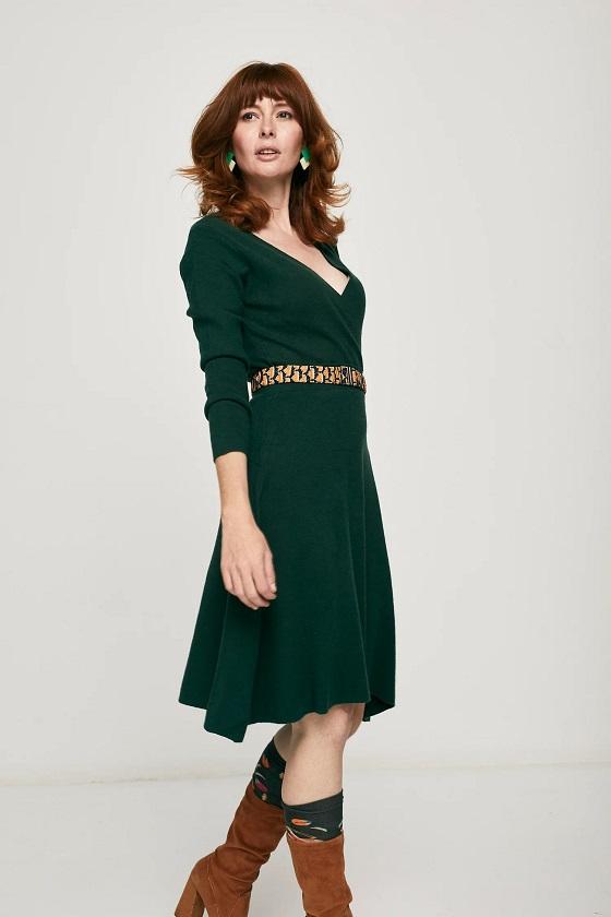 vestido-mangas-largas-punto-verde
