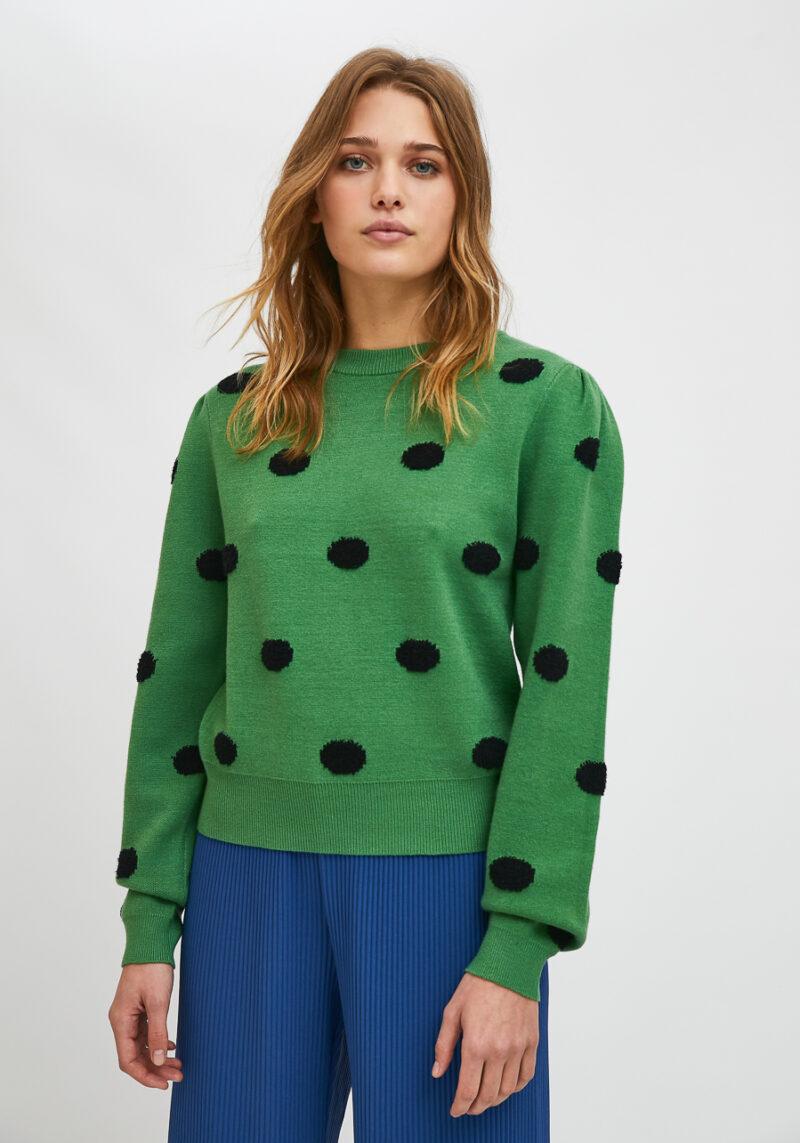 jersey-cuello-redondo-verde-lunares-negros